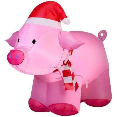 Outdoor Lighted Christmas Pig in US - 8