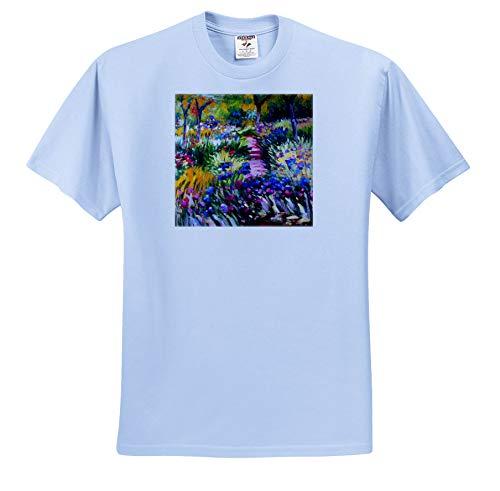 3dRose VintageChest - Masterpieces - Claude Monet - Iris Garden at Giverny - T-Shirts - Toddler Light-Blue-T-Shirt (2T) (ts_303318_63) (Toddler Monet Shirt)