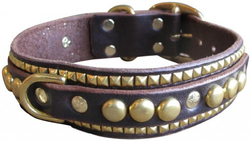 "Paco Collars - ""Ruadh Deluxe"" - Exclusive Handmade Leather Large Dog Collar - 1.5""Wide - Brass - Tan 16""-18"""