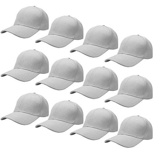 Falari Wholesale 12-Pack Baseball Cap Adjustable Size Plain Blank Solid Color
