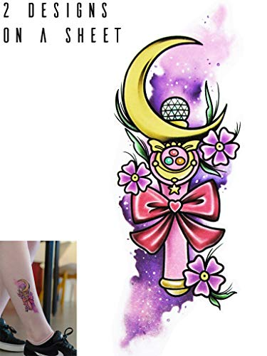 Novu Ink Sailor Moon Watercolor Crescent Moon Stick Wand Temporary Tattoos | 2 Designs on a Sheet | Fake Tattoos | Art Design Transfers/Stickers | For Body, Arm, Leg etc | (14cm x 5cm)