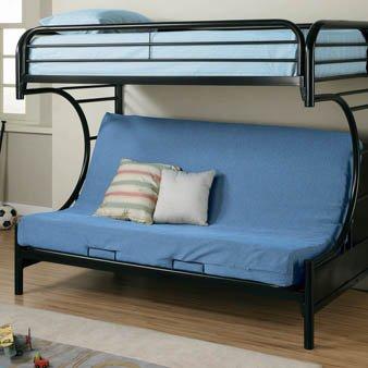 Coaster Twin/Futon Bunk Bed, High Gloss Black
