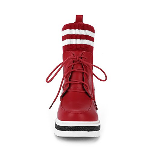 BalaMasa Womens Heighten Inside Bandage Stripes Urethane Boots ABL10606 Red HFXPKKQ
