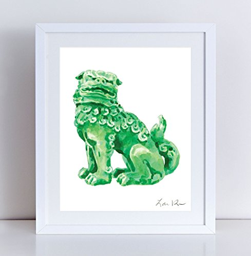 Green Foo Dog Art Foo Dog Painting Foo Dog Print Chinoiserie Foo Dog Hollywood Regency Decor Asian Decor Chinese Wall Art Green Jade Decor Canvas Art Print Watercolor Art (Chinese Antique Jade)
