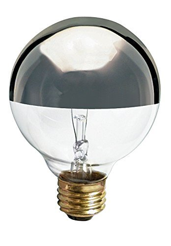 Satco 25G25/SL Incandescent Globe Light, 25W E26 G25, Silver Crown Bulb [Pack of ()