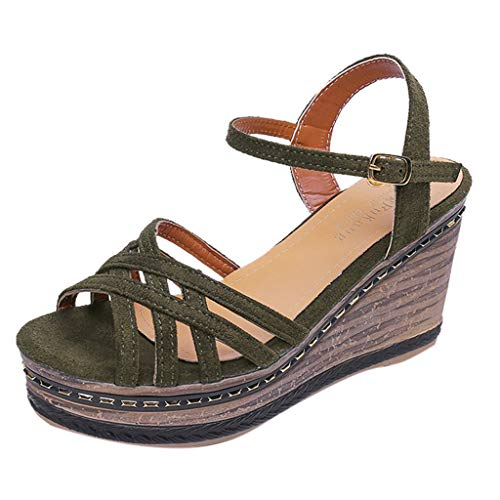(Women Cross Buckle Strap High Wedges Roman Sandals Casual Retro Open Peep Toe Buckle Platform Anti Skidding Beach Shoes (Green, 5.5 M US))