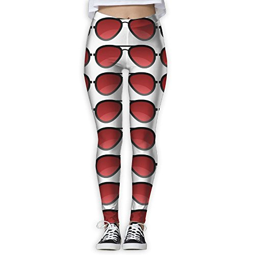 Red Sun Glass Print Non See-Through Fabric Full-Length Workout Leggings For - Sunglasses Clothes See Through