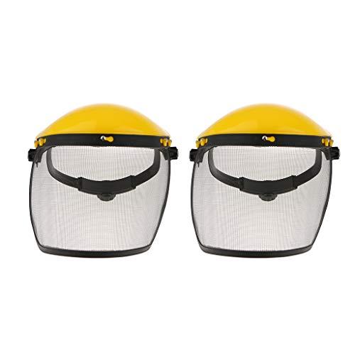 (B Blesiya 2 Pack Steel Mesh Face Shield with Adjustable Mesh Visor for Weeding Sawing Wood)