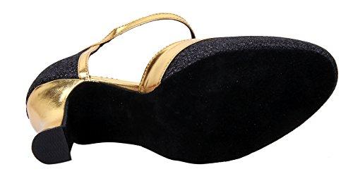 Der lateinische Tanz der Honeystore-Frauen schloss Zehe-Bügel-Glitter-Mary-Jane-Tanz-Schuhe Schwarz