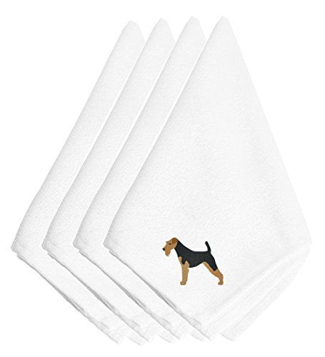 (Caroline's Treasures BB3457NPKE Airedale Terrier Embroidered Napkins (Set of 4), 20