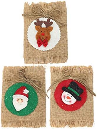 Amosfun 3 stks Kerstmis Wijnfles Cover Wijnfles Cadeautas Sneeuwman Elk Kerstman Decor voor Banket Kerstdiner