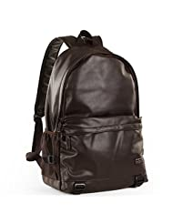 Gumstyle® Super Cool College Style Leather Backpack For Laptop Travel Large Capacity School Bag Brown
