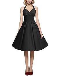 MERRYA Halter Vintage 1950s Cocktail Tea Party Swing Dress for Women Plus Size