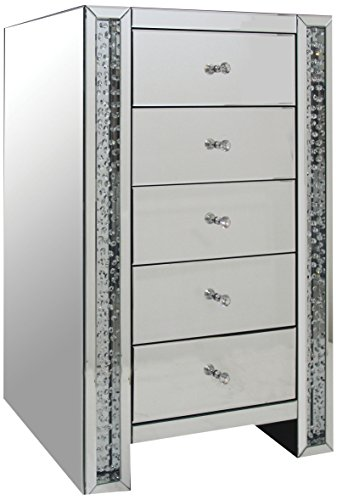 ACME Nysa Mirrored Accent Chest with 5 Drawers ()