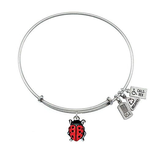 Wind & Fire Ladybug Finition argent Charm Bracelet