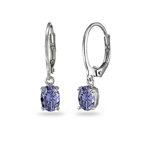 LOVVE Sterling Silver Simulated Tanzanite 7x5mm Oval Dangle Leverback Earrings