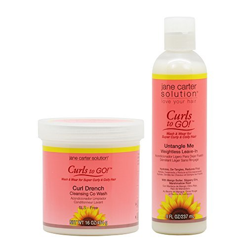 "Jane Carter Curls to GO Curl Drench Cleansing Co Wash 16oz & Untangle me Leave-In 8oz ""Combo"""