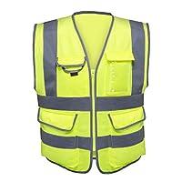 Neiko 7 Pocket Safety Vest, Neon Yellow