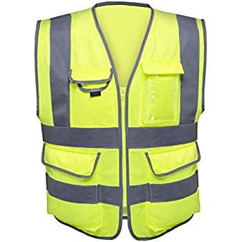 Neiko 53995A High Visibility Safety Vest with 7 Pockets and Zipper, Neon Yellow | Size X-Large