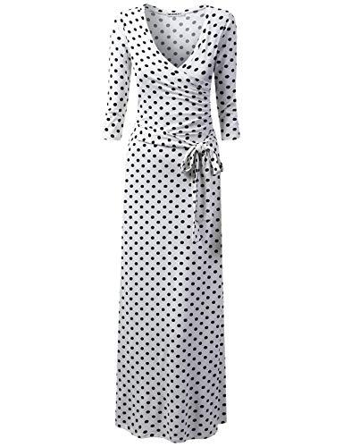 Satin Waist Wrap Dress - NINEXIS Women's V-Neck 3/4 Sleeve Waist Wrap Front Maxi Dress, IVORYBLACKDOT M