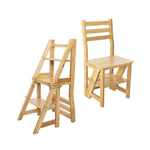 Navaris Escabeau Chaise en Bois – Chaise Convertible en Escalier 4 Marches – Meuble Pliant Multifonction Décoration Maison Salon Bibliothèque