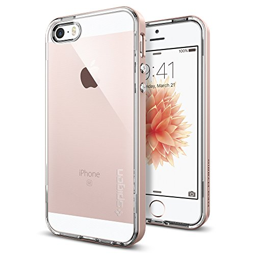 low priced c347f a5c66 iPhone SE Case, Spigen Neo Hybrid Crystal - Flexible Inner Clear TPU/PC  Frame Slim Dual Layer Case for Apple iPhone SE (2016) - Rose Gold