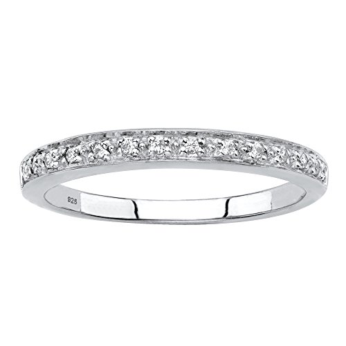 Platinum over Sterling Silver Diamond Accent Single Row Ring Size (Platinum Diamond Wedding Anniversary Ring)