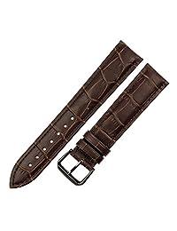 RECHERE Alligator Crocodile Grain Leather Watch Band Strap Black Pin Buckle (Brown 22mm)