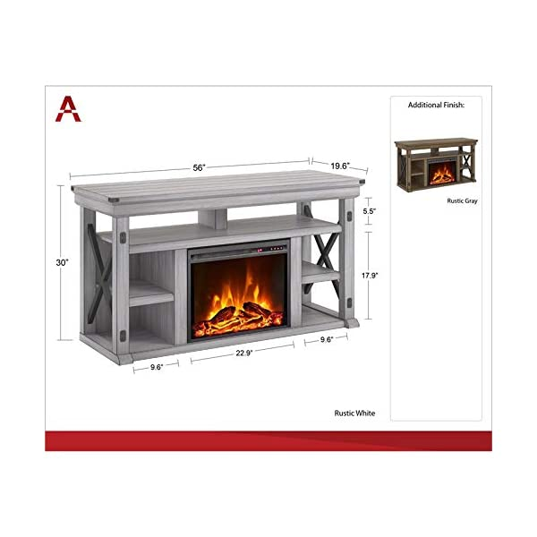 """Beaumont Lane Wildwood Electric Fireplace Heater TV Stand Console up to 60"""" in Rustic Gray"""