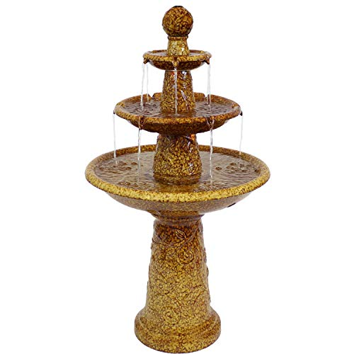 Sunnydaze Floral Motif Ceramic 3-Tier Outdoor Water Fountain with LED Lights, 45-Inch