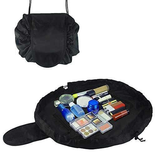 Drawstring Cosmetic Bag Multifunction Toiletry Bag Portable Makeup Pouch Waterproof Travel Hanging Organizer Bag for Women (black)