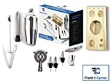 Front & Center Premium 14 Piece Stainless Steel Bartender Cocktail Set – Base, 750mL Shaker, Strainer, Muddler, Pourers, Stirrer, Corkscrew, Double Jigger, Tongs | Complete End to End Bar Kit