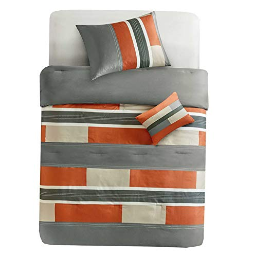 Kaputar Modern Casual Sporty Orange Taupe Green Khaki Grey Block Stripe Comforter Set | Model CMFRTRSTS - 965 | Twin Extra Long