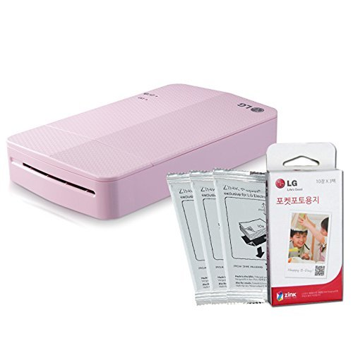 Lg Pocket Photo3 Popo Pd251 Portable Pocket Printer + Zink 30 Sheets Pink NEW by LG