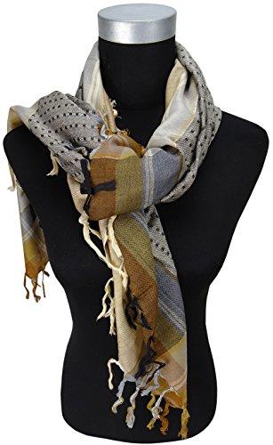 foulard en brun beige doré gris à dessins avec franges - fil scintillant eingewebt