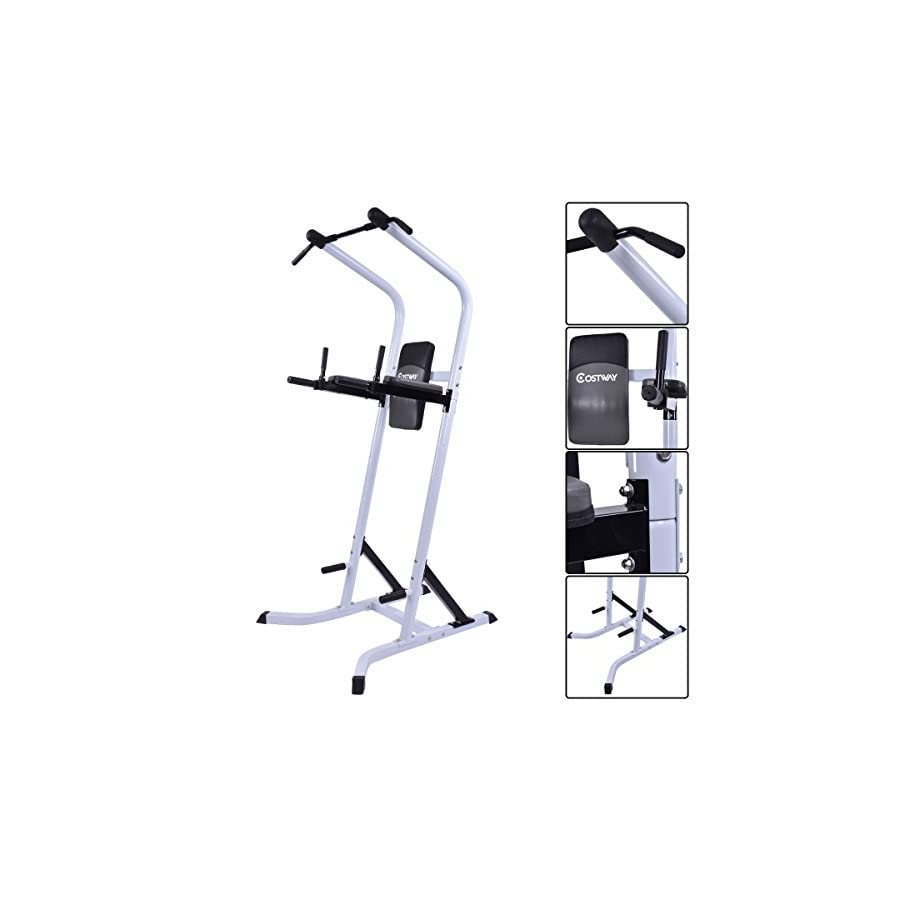COSTWAY Chin Up Power Tower Rack Pull Up Weight Stand Bar Leg Raise Home Gym Workout Fitness Equipment