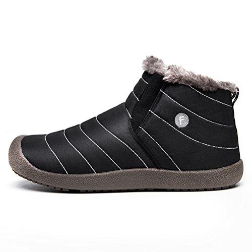 JACKSHIBO Mens Womens Slip On Winter Boots Fur Lined Outdoor Anti-Slip Snow Boots Black-high Top IXqptwWpFS