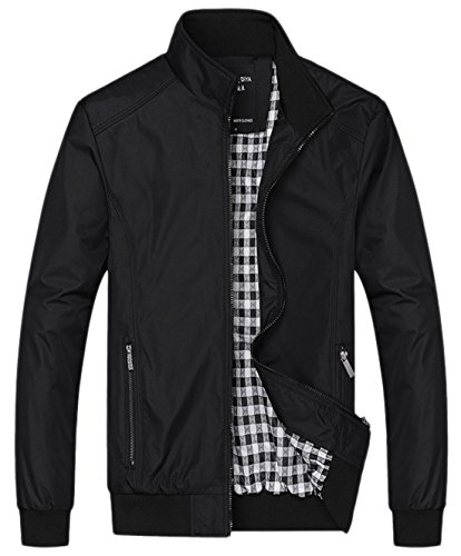 Chouyatou Men's Active Lightweight Softshell Zipper Bomber Jacket (Large, Black) (Jacket Shell Soft Light)