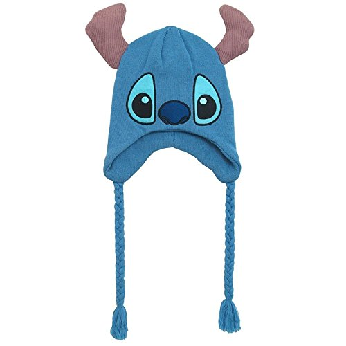 Disney Men's Stitch Winter Hat with Ears, 100% Peruvian Acrylic Knit, Royal, One -