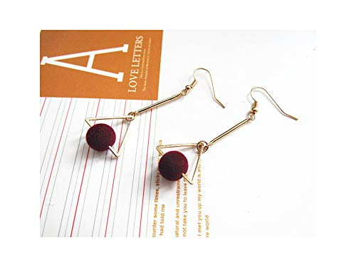 Classic Exclusive Design Triangle Geometry Circular Pendant Long Earrings Accessories,Red 2
