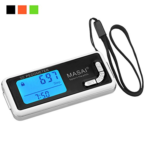 Pedometer for Walking-3D Trisport Walking Pedometer-Portable Step Counter for Walking-Non-Bluetooth Pedometers with Lanyard-7 Days Memory for Distance/Calorie Counter with Water-Resistant/Backlight-BK by Risen Libra