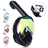 Snorkel Mask 180 Panoramic View Free Breathing Full Face Snorkeling Masks with Detachable GoPro Mount, Dry Top Set Anti-Fog Anti-Leak Diving Mask for Adults & Kids
