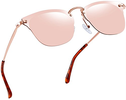 Joopin Vintage Round Sunglasses for Women Retro Brand Polarized Sun Glasses E3447 (Pink Rimless Pro)