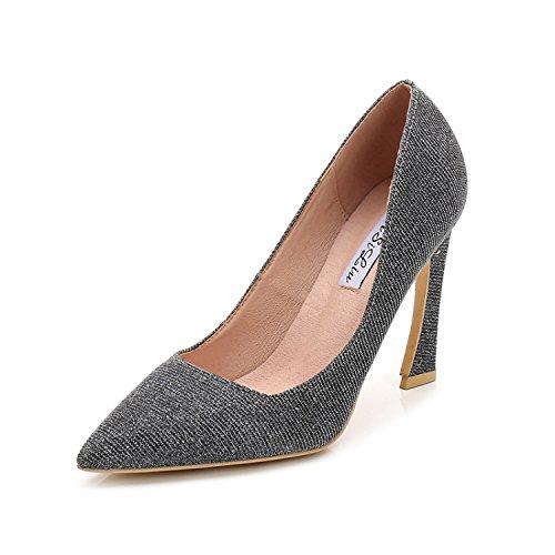 ZHANGJIA Zapatos De Tacon Alto, Zapatos De Tacon Fino Hadas Y Coreano Grey gun color (9 centimeters high)