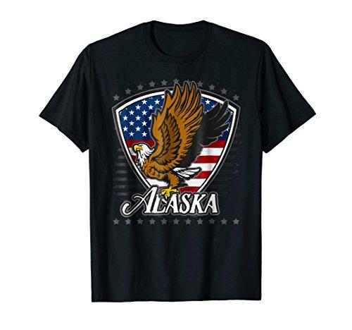 (Alaska Bald Eagle on American Flag Shirt )