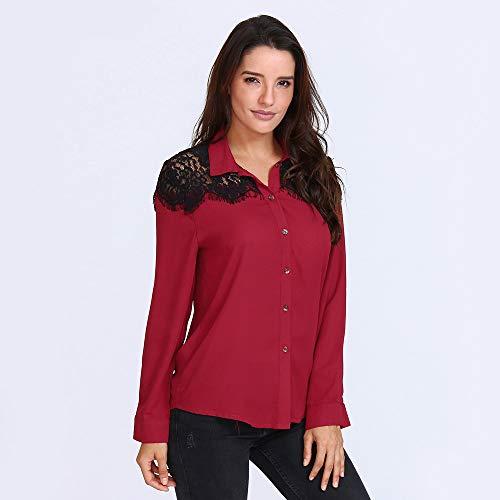 Femmes Chemisier Dentelle Blouse lgant Femme Longues Blouse en Sexy Shirt T Patchwork Dcontract Tops Manches Rouge Chic Mode Automne Chemise qga6wnxf4n
