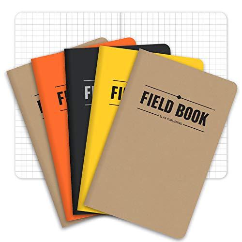 """Field Notebook/Pocket Journal - 3.5""""x5.5"""" - Combination of Kraft, Graph"""