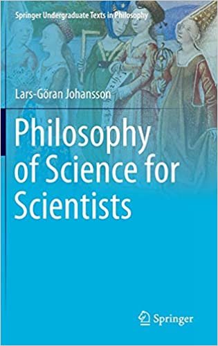 Philosophy of Science textbook with a painting on it and a blue background