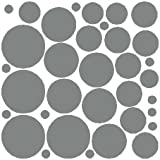 34 Silver Polka Dot Wall Stickers Removable Dot Wall Decals
