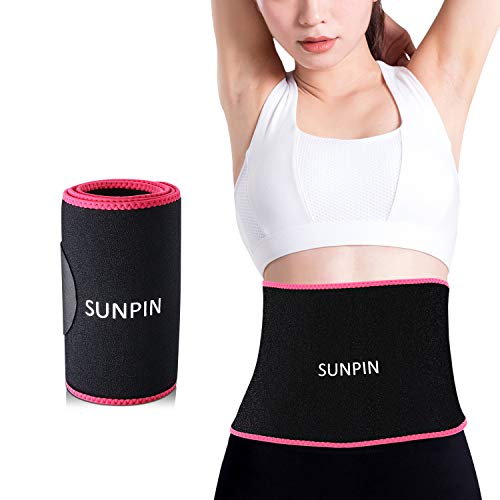 Waist Trimmers SUNPIN, Waist Trainer Slimming Belt, Adjustable Stomach Fat Burner Wrap, Low Back Lumbar Support for Men & Women(Red) - Promotes Healthy Sweat, Weight Loss (Red)